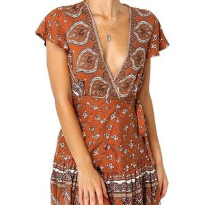 Autumn burnt Orange boho Gypsy Spell Dress